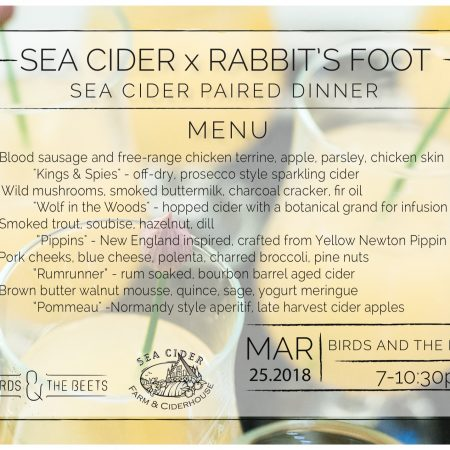 Rabbit's Foot X Sea Cider Paired Dinner